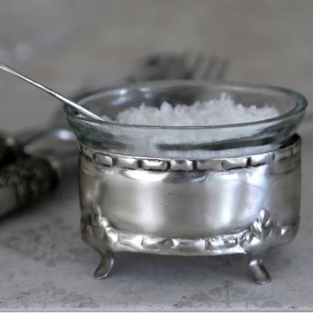 Salt cellar w.loose glass & spoon