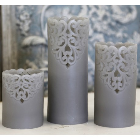 "Battery candle ""Lace"" grey"