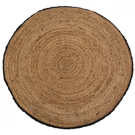 Jute rug w. black edge natur D160 cm