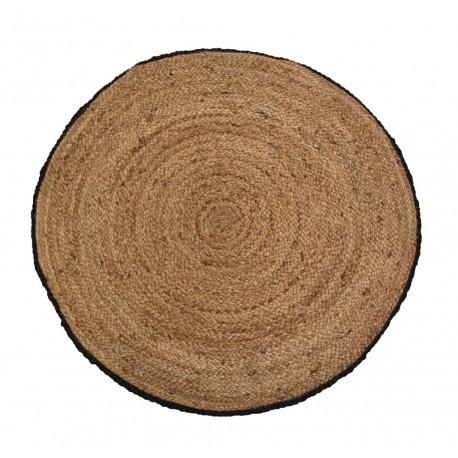 Jute rug w. black edge natur D70 cm