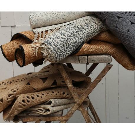 Jute rug w. pattern grey D120 cm