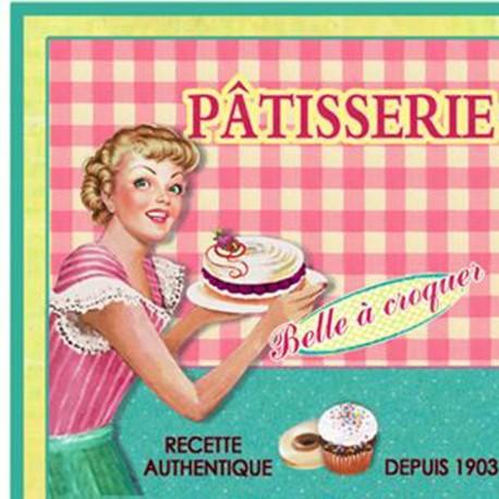 "Napkins w.print ""Patisserie"" rose"