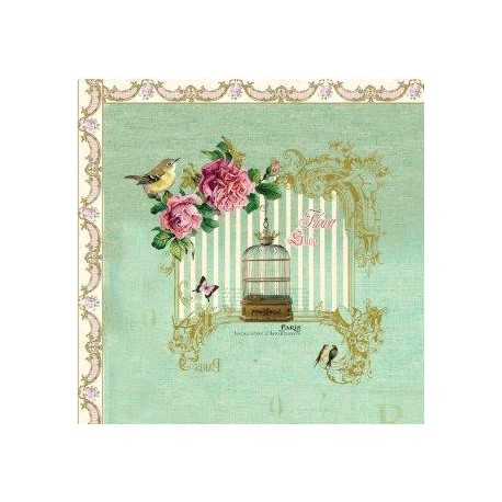 Napkins aqua w.birdcage 20 pieces