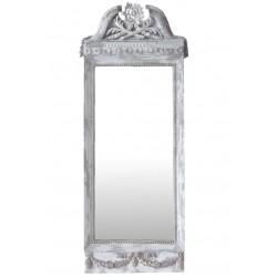 French mirror w.rose decor antique white