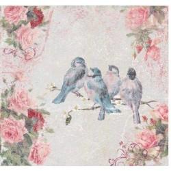 Napkins white w.birds 20 pieces