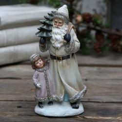Figurka Świąteczna Mikołaj z Dziewczynką