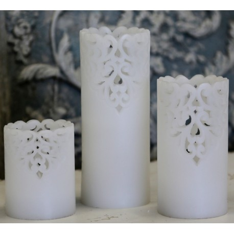 "Battery candle ""Lace"" white"