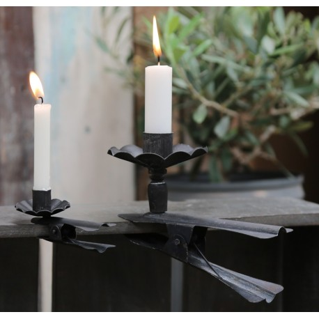 Holder for candles antique black L17 cm