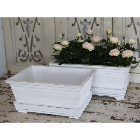 Flower box set of 2 antique white