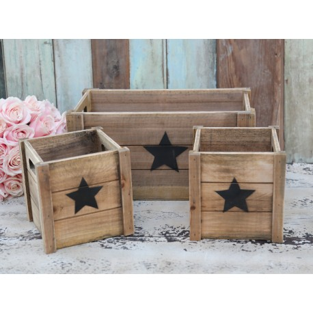 Old wooden boxes w.star set of 3
