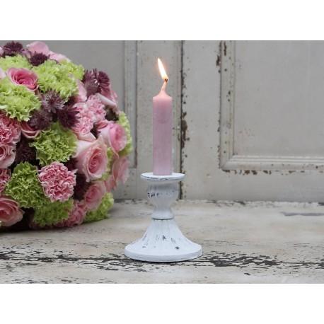 Candlestick antique white D8,5/H9 cm