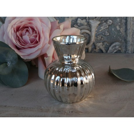 Vase w. grooves pumpkin antique silver