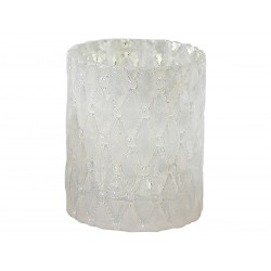 Tealight holder w.pearl decor grey
