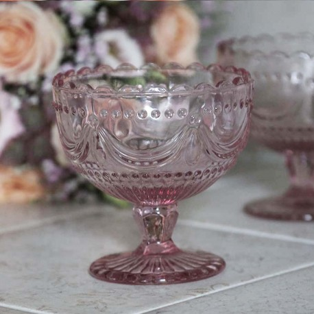 Szklany Pucharek Chic Antique Różowy