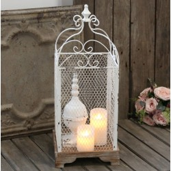 French fil de fer lantern antique white