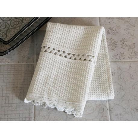 Ręcznik Kuchenny z Koronką Kremowy
