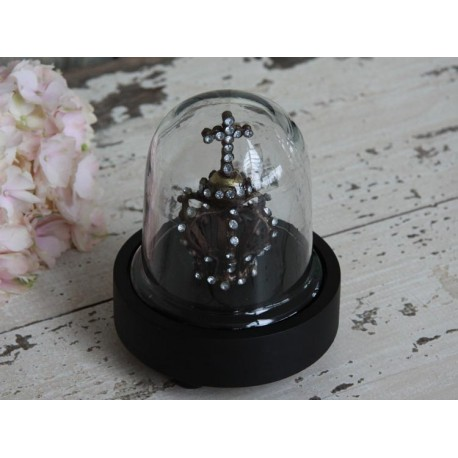 Glass bell w.black bottom excl.crown