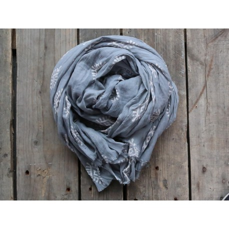 Scarf w. pattern french grey