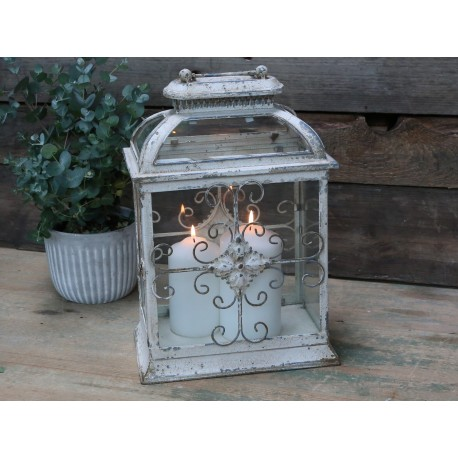 French lantern w. monogram antique white