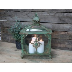 French lantern w. monogram antique green