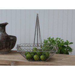 Fil de fer wire basket antique zinc
