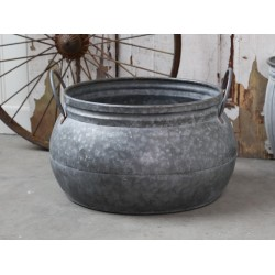 French flower pot w. Handle antique zinc