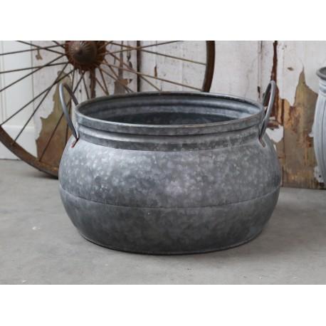 French flower pot w. Handle antique zinc