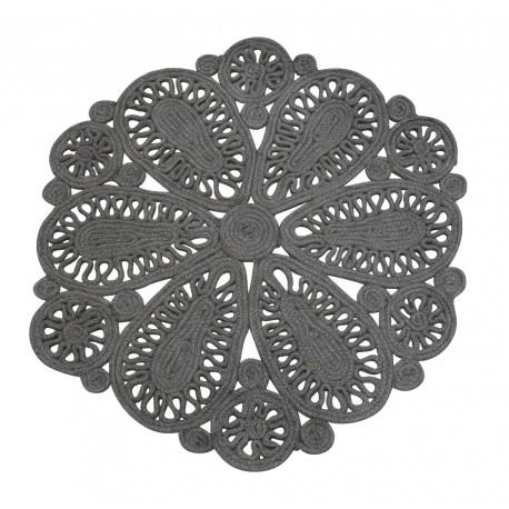 Jute rug w. pattern grey D70 cm