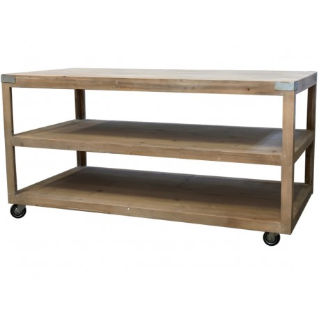 Stół z Półkami Scandi Chic Na Kółkach