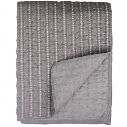 Quilt w. stripes and embroidery grey