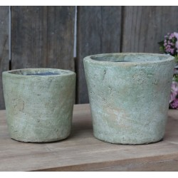 French clay pots antique moss green