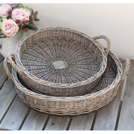 French braided trays french grey s/2