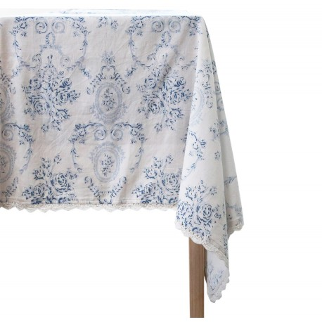 Tablecloth w. french pattern blue
