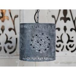 Lamp w.eyelet pattern antique zinc