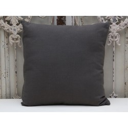 Pillow flax look charcoal with filling