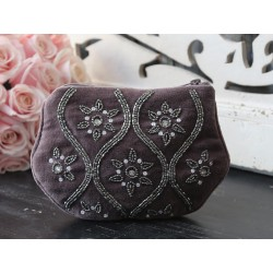 Toilet bag w.pearls dusty purple
