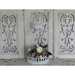 Bird cage antique white H68x29 cm