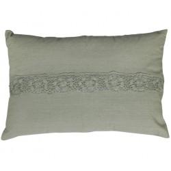 Poduszka Oliwkowa Podłużna Chic Antique z Koronką