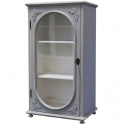 Cabinet w. oval glass door french grey