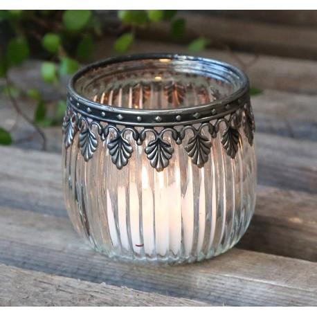 Szklany Lampion Chic Antique z Listkami