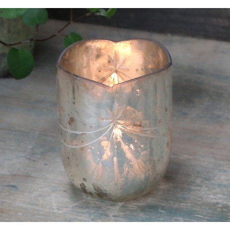 Tealight holder w. cuttings ant. silver