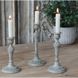 Candlestick french grey H16 cm