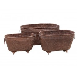 Flowerpot on lion feet antique rust