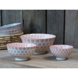 Old french latte Bowl (S19) flowers s/3