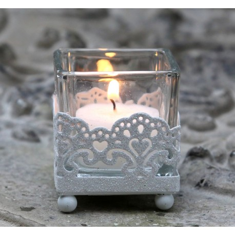 Świecznik Na Tealight Chic Antique z Brokatem