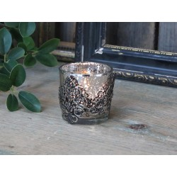 Tealight holder w. silver decor