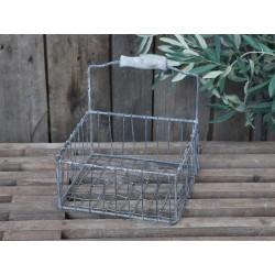 Fil de fer Basket w wooden handles