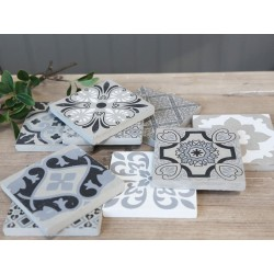 French Tiles w. print set of 9