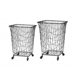 Fil de fer Baskets on wheels set of 2