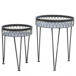 Tables w. fil de fer edge set of 2